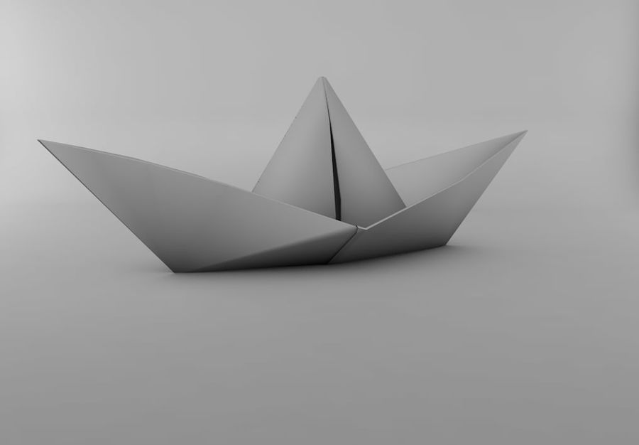Paper boat royalty-free 3d model - Preview no. 2