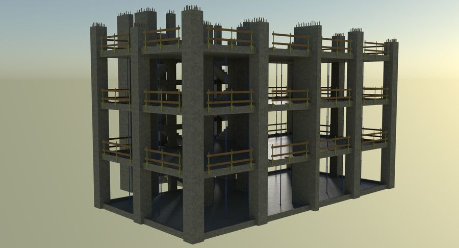 Plac budowy trzy teksturowane royalty-free 3d model - Preview no. 4