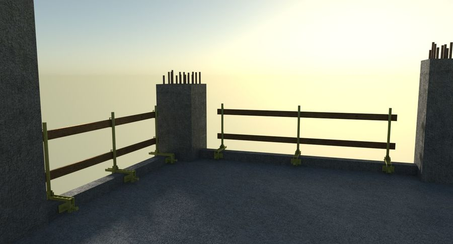 Plac budowy trzy teksturowane royalty-free 3d model - Preview no. 9