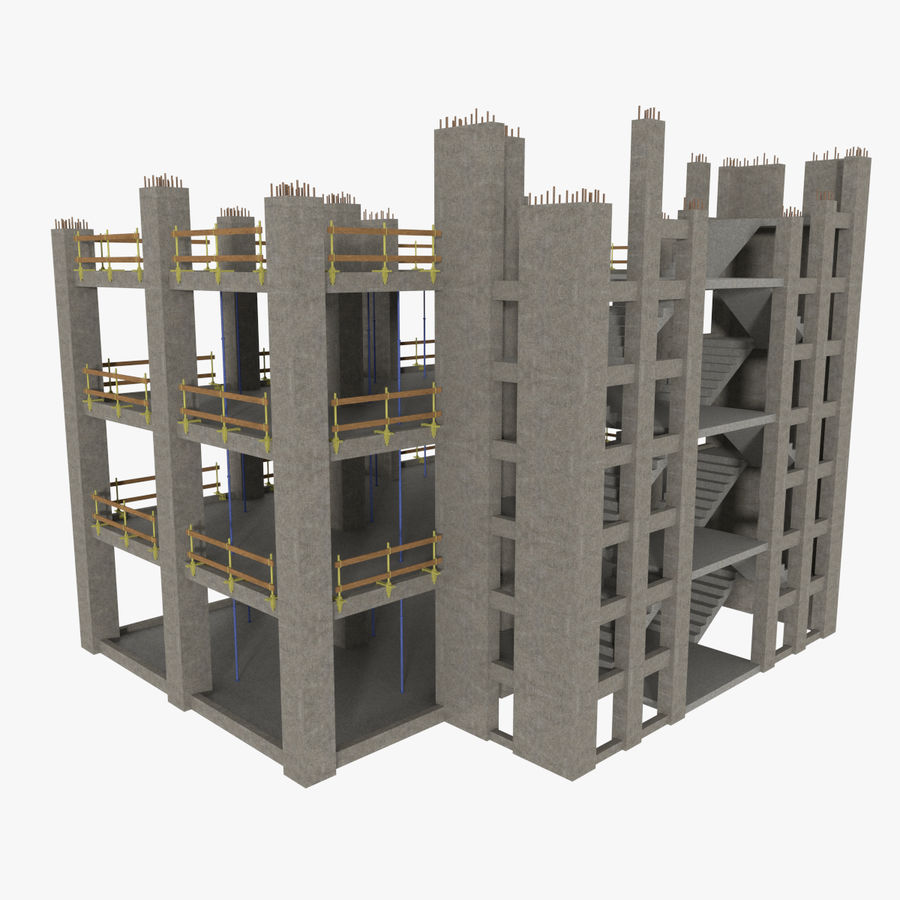 Plac budowy trzy teksturowane royalty-free 3d model - Preview no. 1