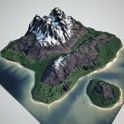 Snowy Mountain Lake 3d model