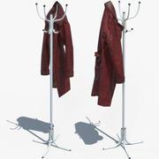 Красное кожаное пальто с пальтовым деревом 3d model