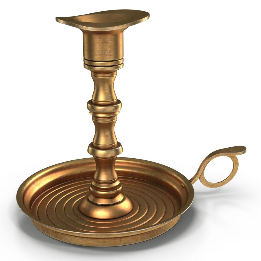 Antique Brass Candle Holder royalty-free 3d model - Preview no. 2