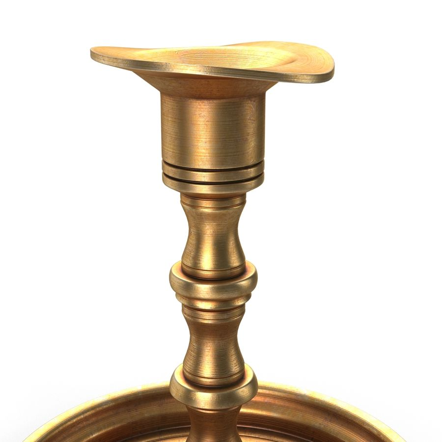 Antique Brass Candle Holder royalty-free 3d model - Preview no. 6