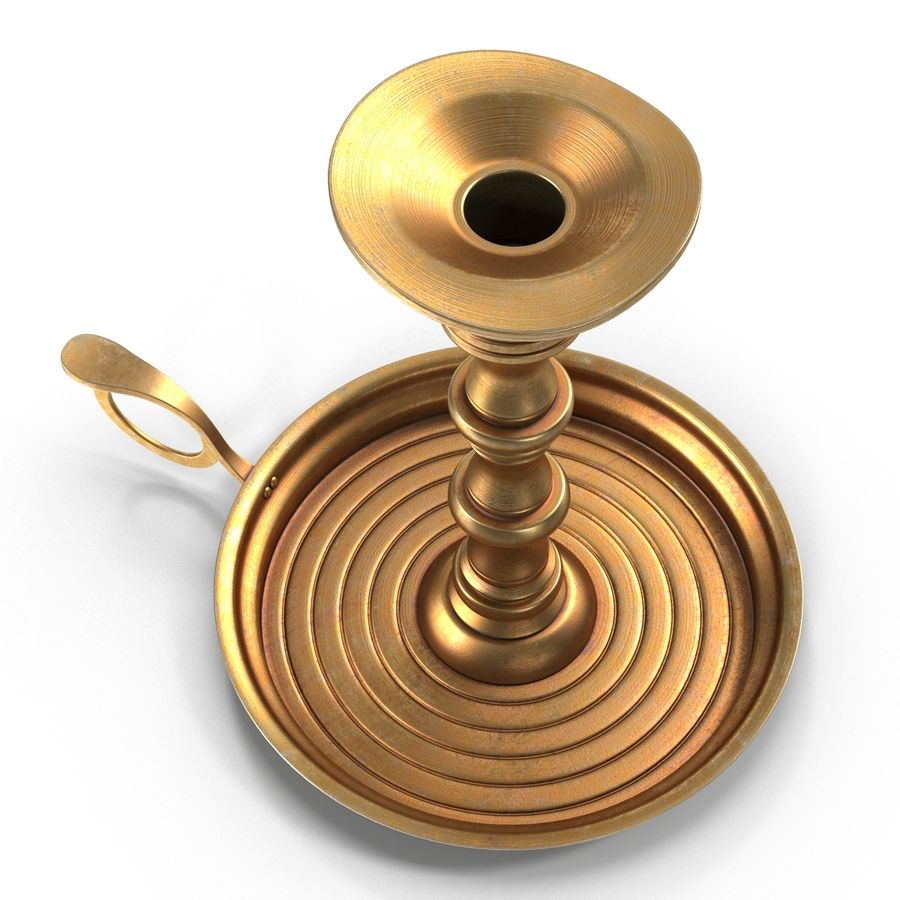 Antique Brass Candle Holder royalty-free 3d model - Preview no. 7
