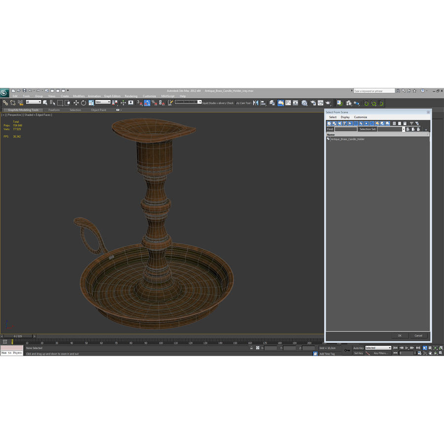 Antique Brass Candle Holder royalty-free 3d model - Preview no. 14