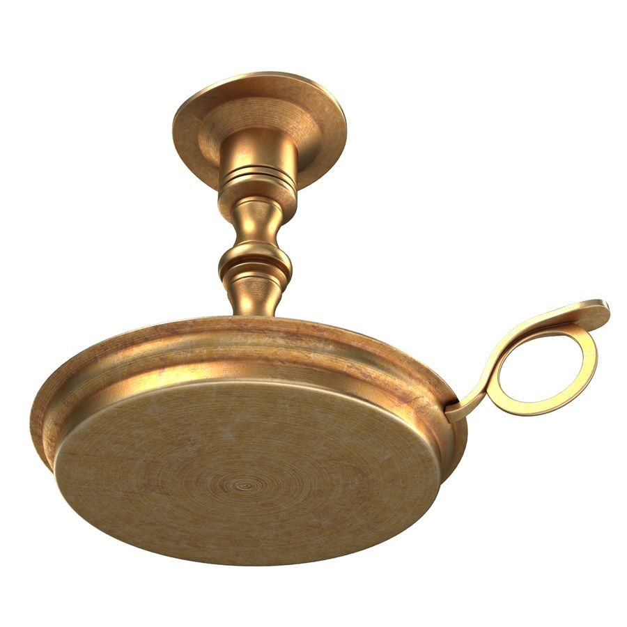 Antique Brass Candle Holder royalty-free 3d model - Preview no. 9