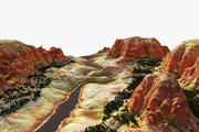 Cartoon Canyon Valley 3d model