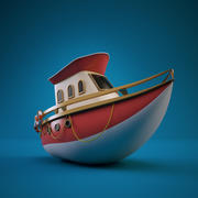 Мультфильм яхта 3d model