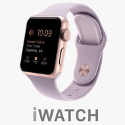 Apple Watch 38mm Rose Gold Aluminum Case with Lavender Sport Band 3d model