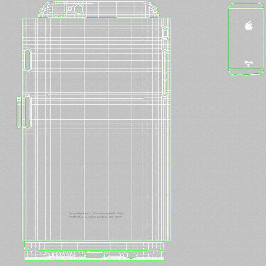 Apple iPhone 6s Prateado royalty-free 3d model - Preview no. 26