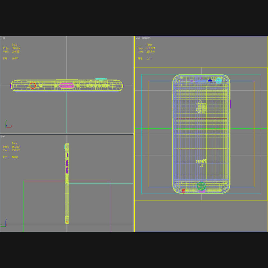 Apple iPhone 6s Prateado royalty-free 3d model - Preview no. 45