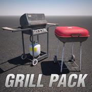 木炭和燃气烧烤包 3d model
