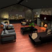 Sala de estar escena modelo 3d