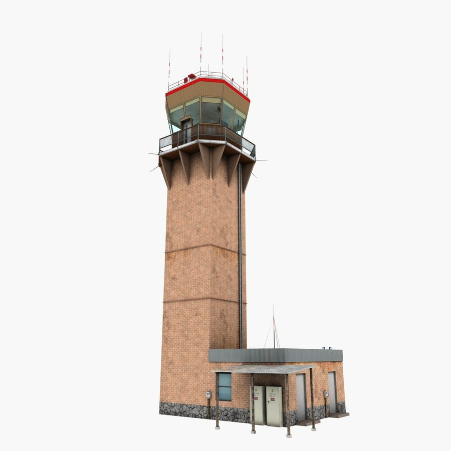 Air Traffic Tower royalty-free 3d model - Preview no. 3