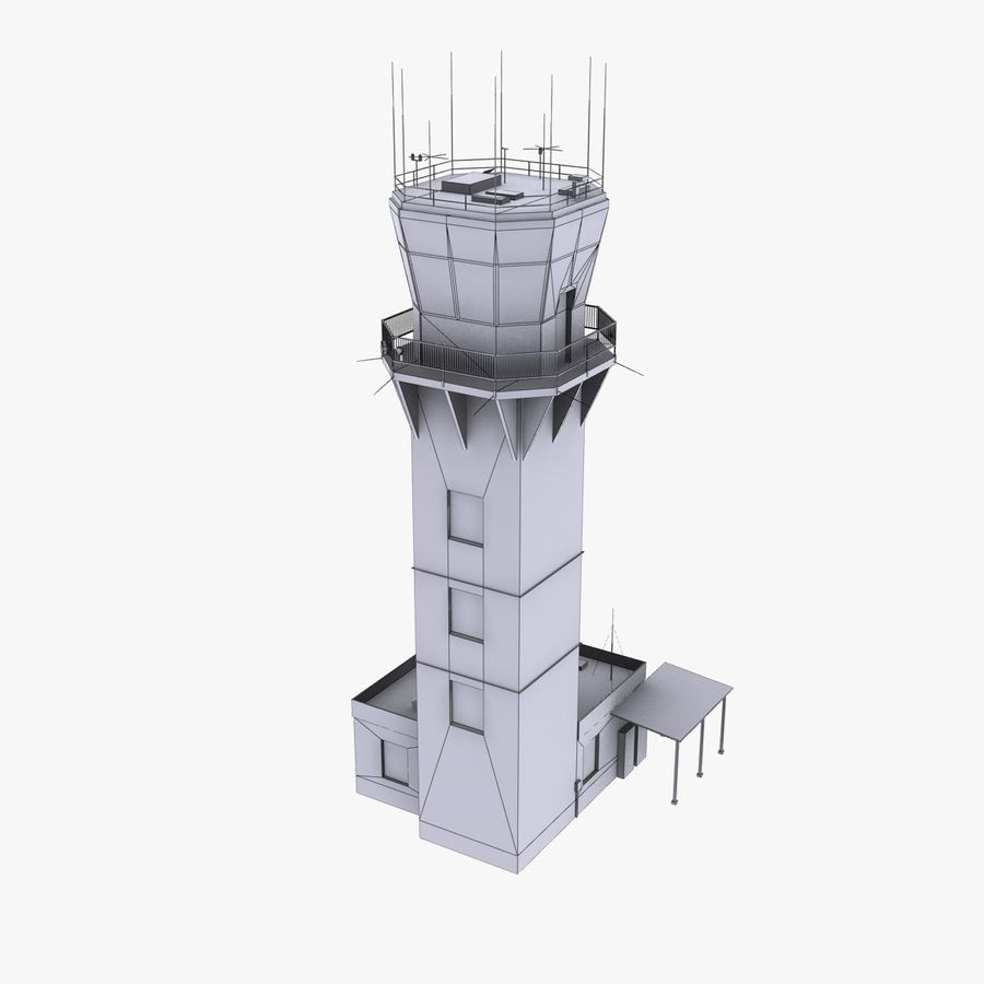 Air Traffic Tower royalty-free 3d model - Preview no. 8
