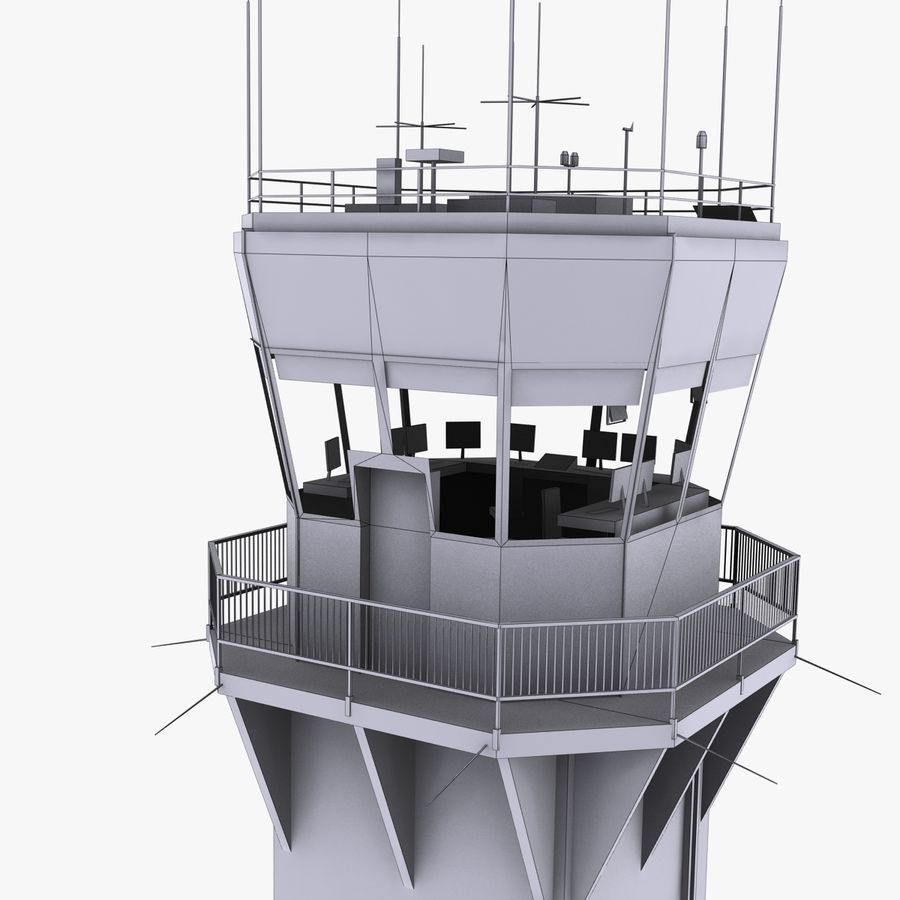 Air Traffic Tower royalty-free 3d model - Preview no. 10