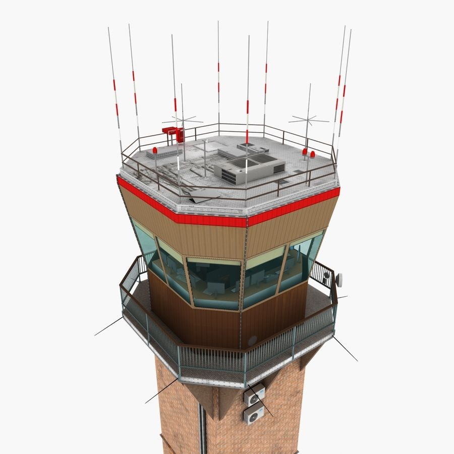 Air Traffic Tower royalty-free 3d model - Preview no. 4