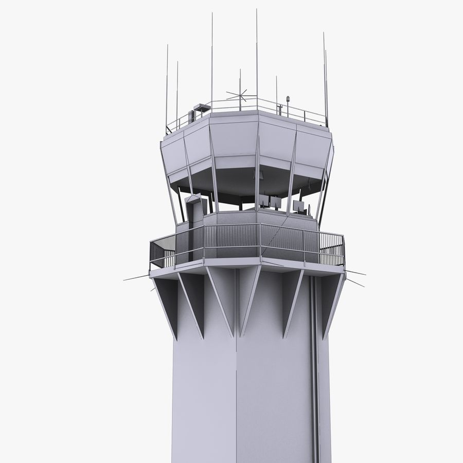 Air Traffic Tower royalty-free 3d model - Preview no. 9