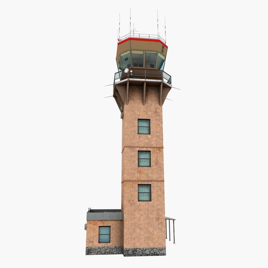 Air Traffic Tower royalty-free 3d model - Preview no. 7