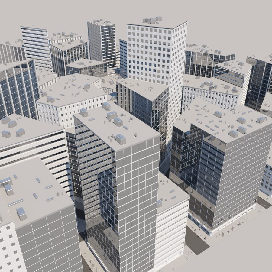 City midtown cityscape royalty-free 3d model - Preview no. 14