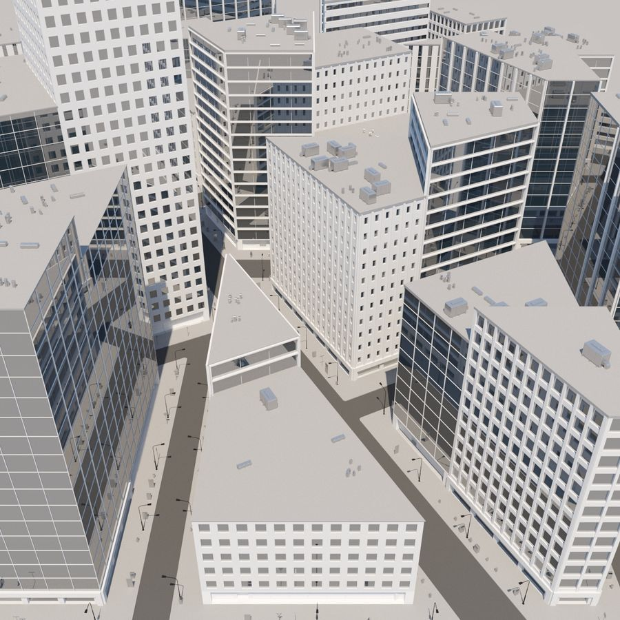 City midtown cityscape royalty-free 3d model - Preview no. 4