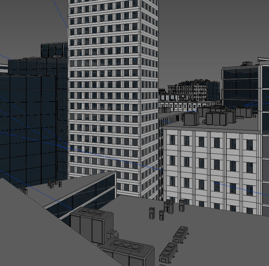 City midtown cityscape royalty-free 3d model - Preview no. 16