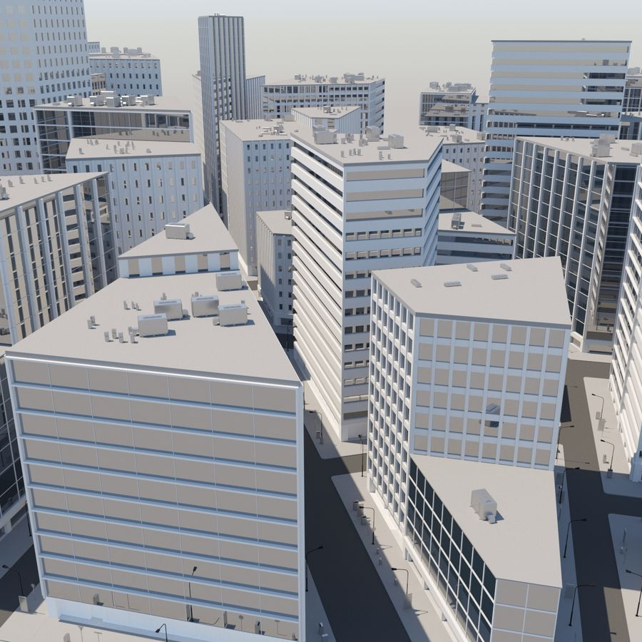 City midtown cityscape royalty-free 3d model - Preview no. 6
