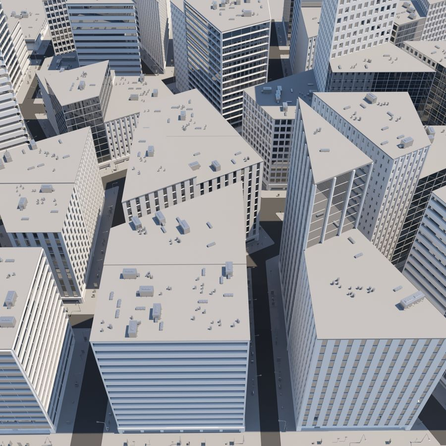 City midtown cityscape royalty-free 3d model - Preview no. 11