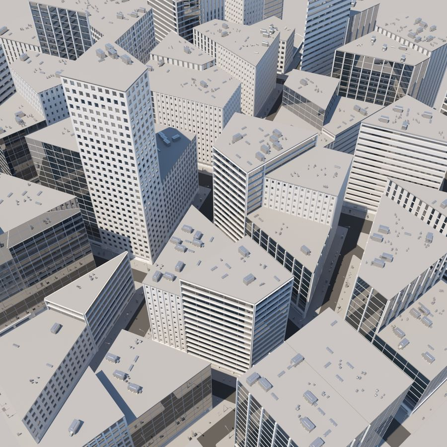 City midtown cityscape royalty-free 3d model - Preview no. 10
