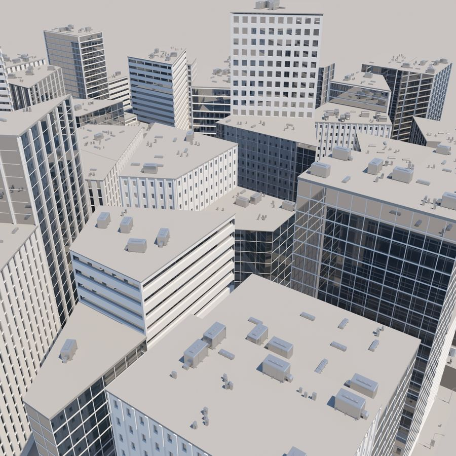 City midtown cityscape royalty-free 3d model - Preview no. 13