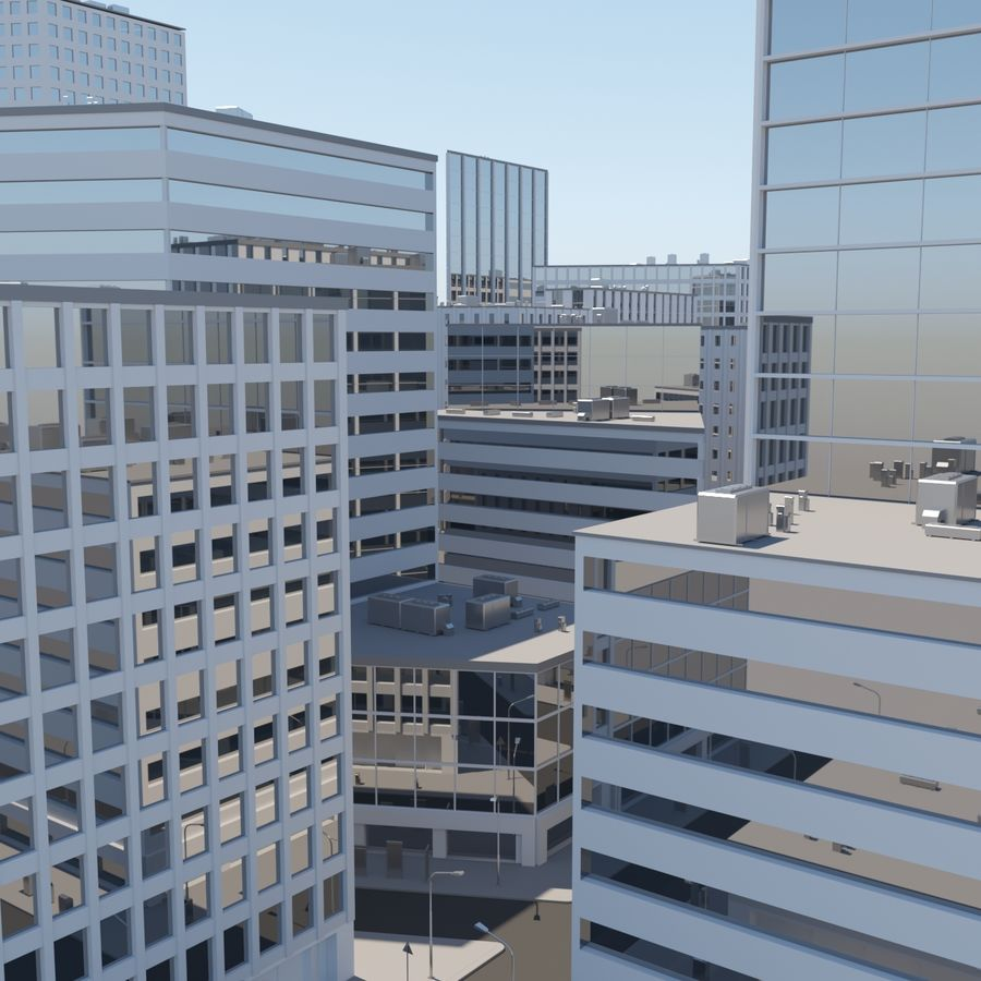 City midtown cityscape royalty-free 3d model - Preview no. 2