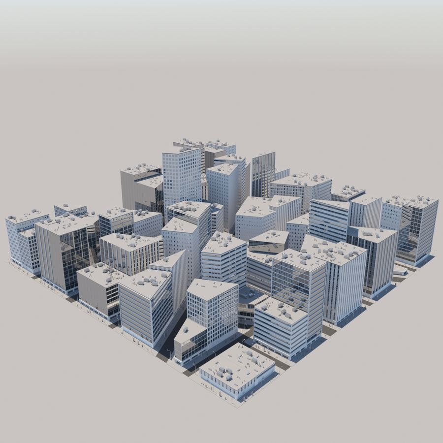 City midtown cityscape royalty-free 3d model - Preview no. 12
