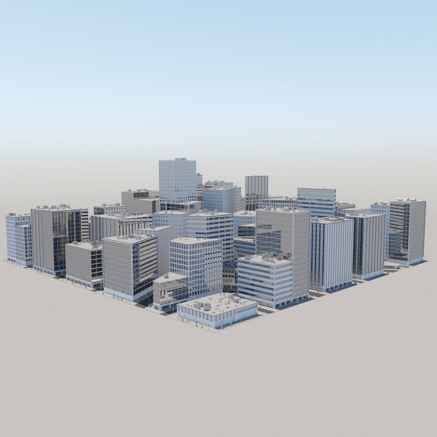 City midtown cityscape royalty-free 3d model - Preview no. 1
