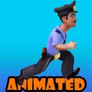 policial animado 3d model
