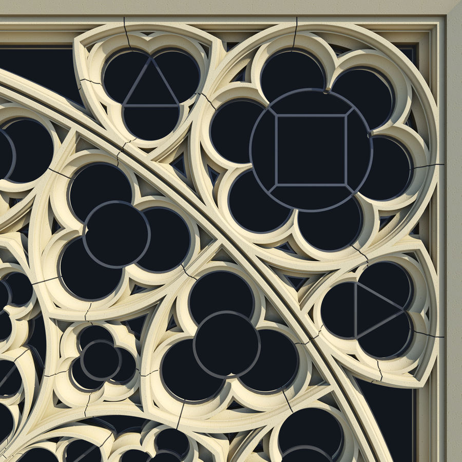 Notre Dame Cathedral Rose Rose Window royalty-free 3d model - Preview no. 5