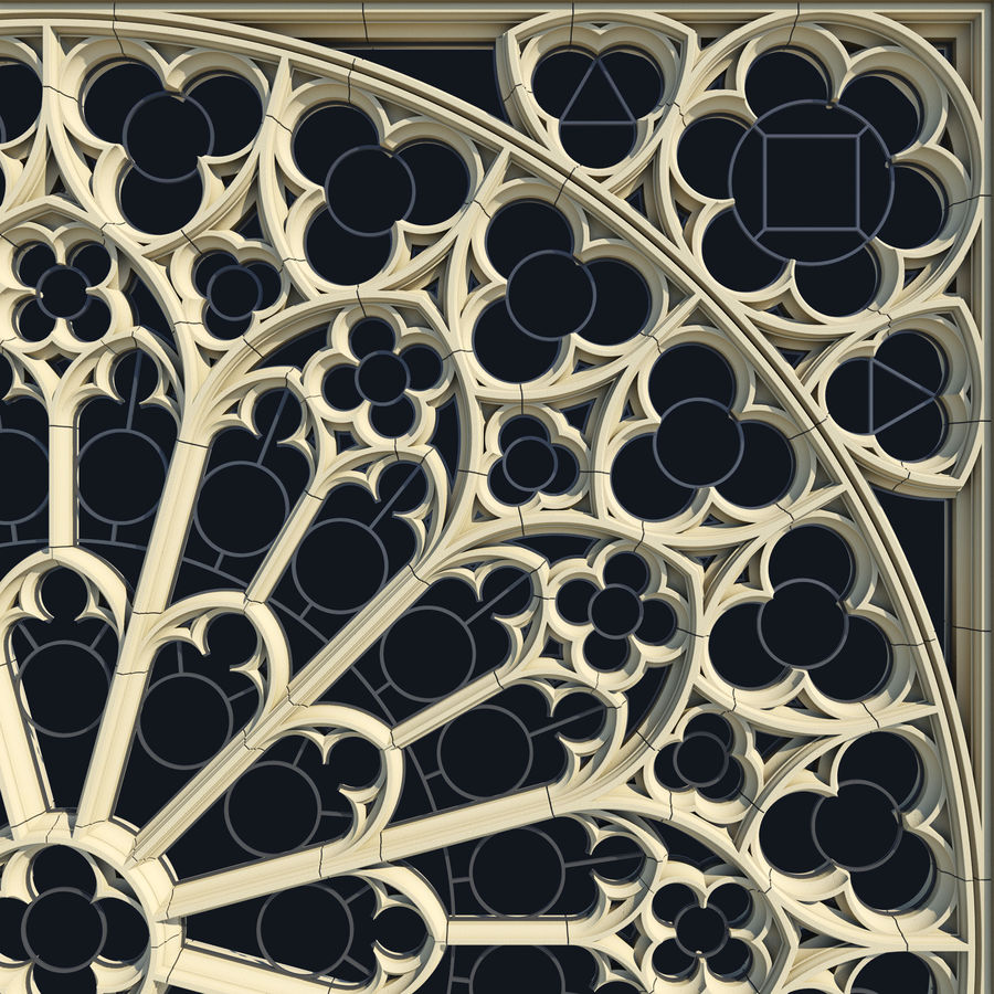 Notre Dame Cathedral Rose Rose Window royalty-free 3d model - Preview no. 3