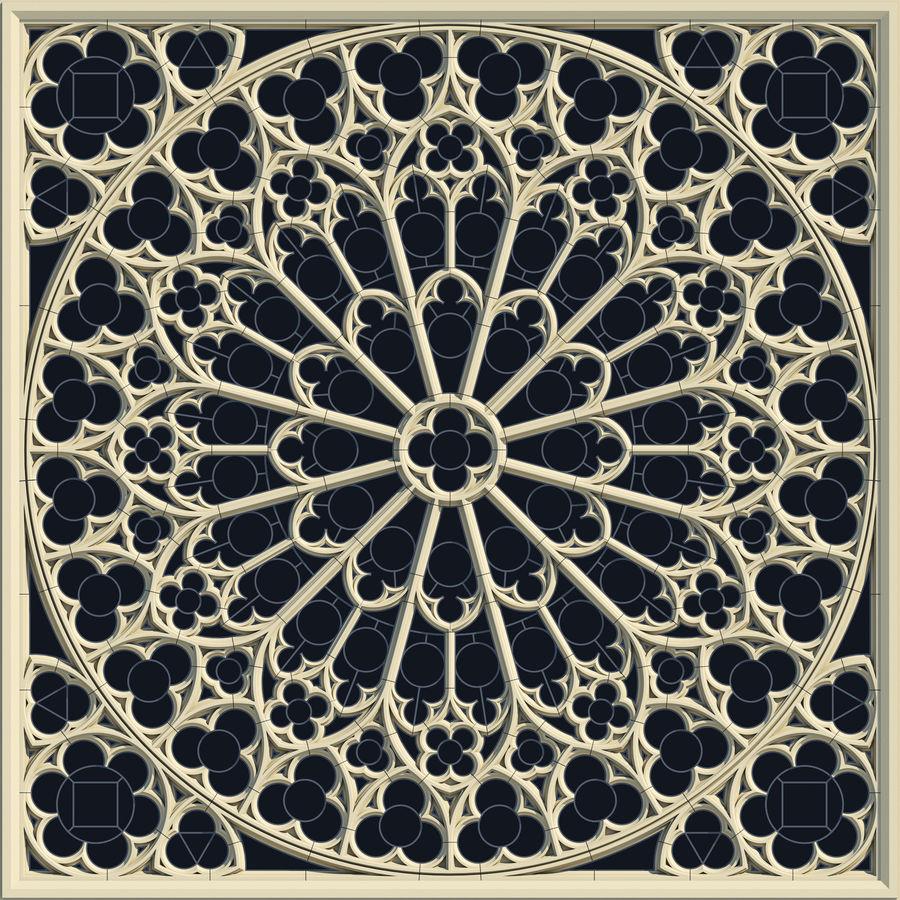 Notre Dame Katedrali Gotik Gül Penceresi royalty-free 3d model - Preview no. 1