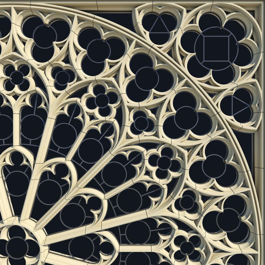 Notre Dame Katedrali Gotik Gül Penceresi royalty-free 3d model - Preview no. 3
