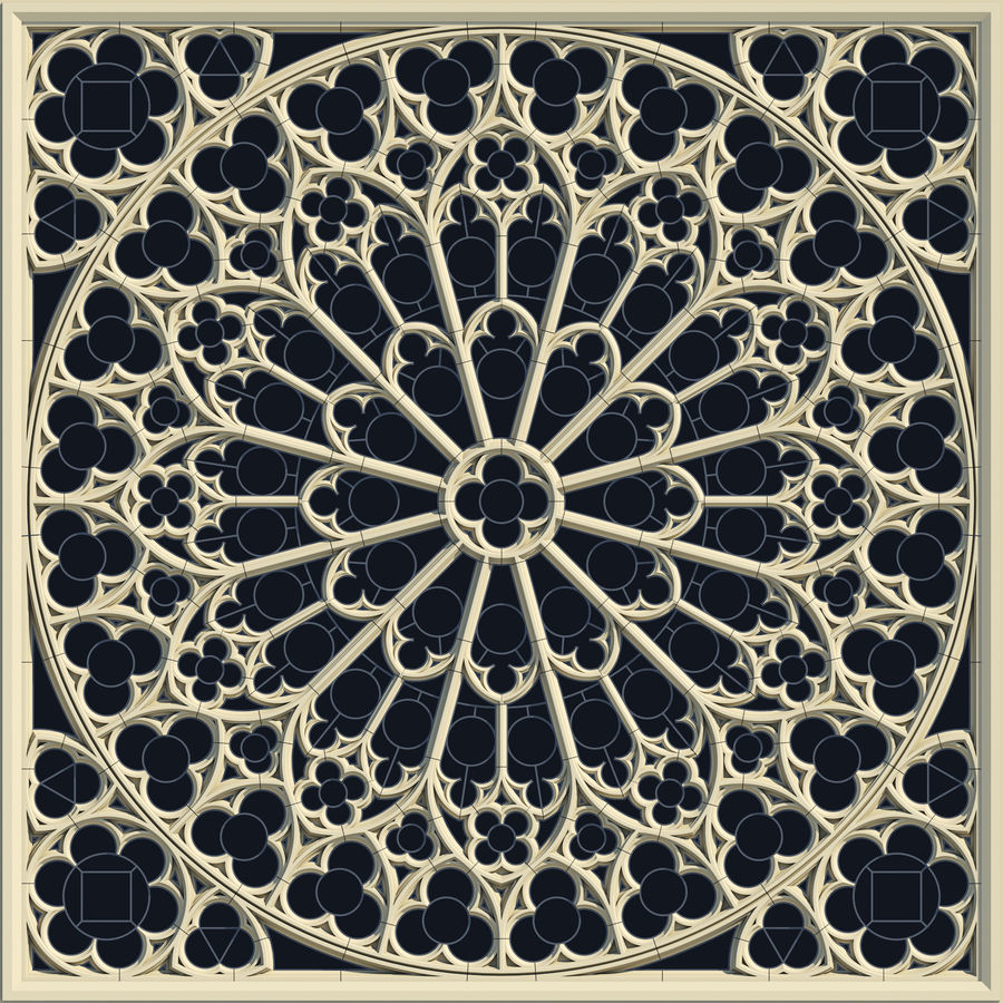 Notre Dame Cathedral Rose Rose Window royalty-free 3d model - Preview no. 1