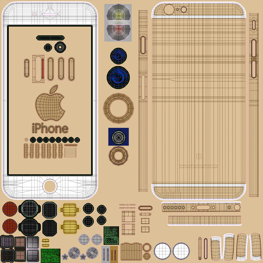 iPhone 6S Gold royalty-free modelo 3d - Preview no. 30