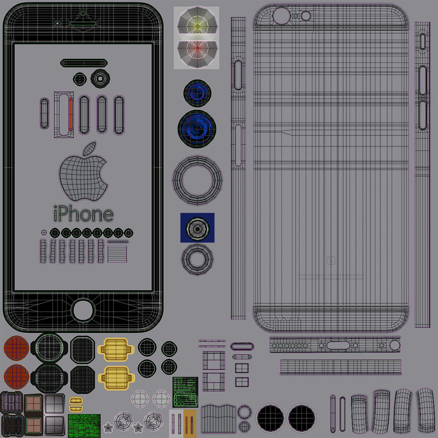 iPhone 6S Space Grey royalty-free 3d model - Preview no. 30
