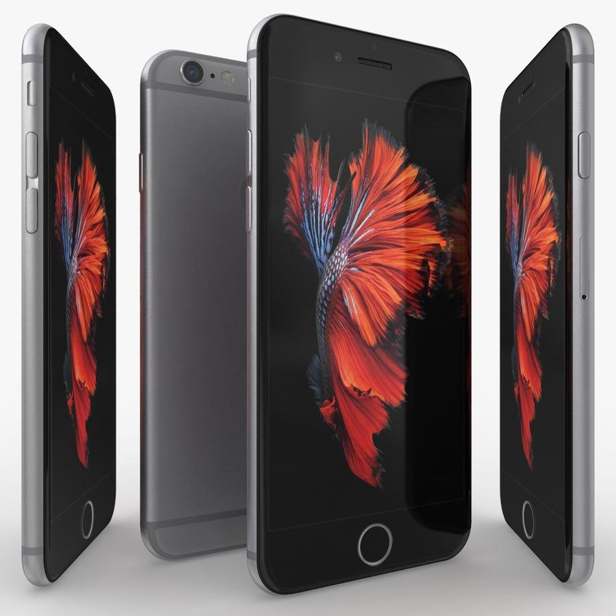 iPhone 6S Space Grey royalty-free 3d model - Preview no. 3