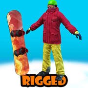 snowboarder rigged 3d model