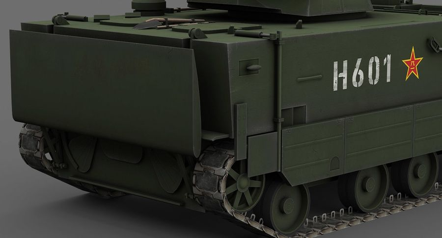 Танк-амфибия ЗБД-05 royalty-free 3d model - Preview no. 9