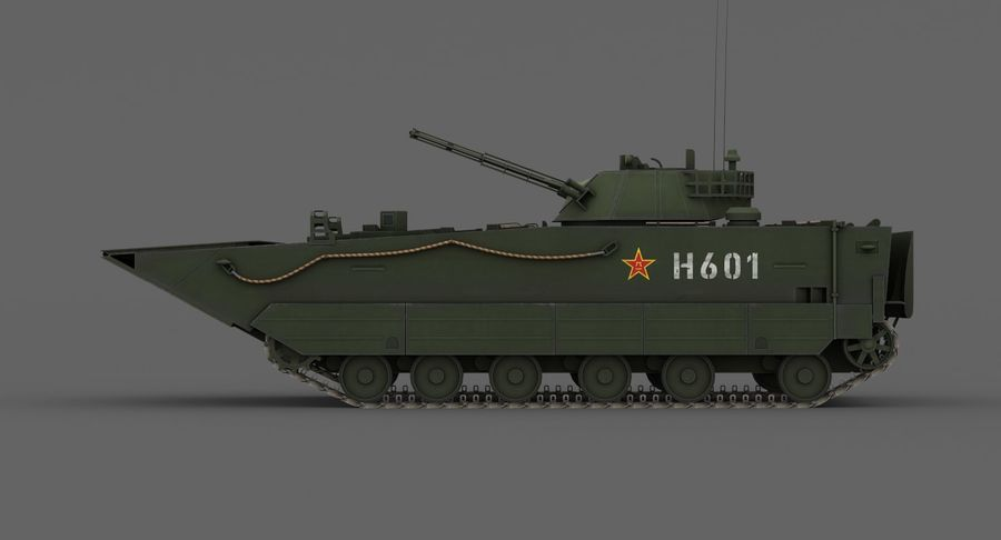 Танк-амфибия ЗБД-05 royalty-free 3d model - Preview no. 14
