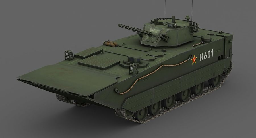 Танк-амфибия ЗБД-05 royalty-free 3d model - Preview no. 3