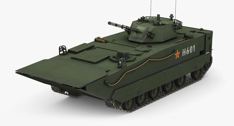 Танк-амфибия ЗБД-05 royalty-free 3d model - Preview no. 2