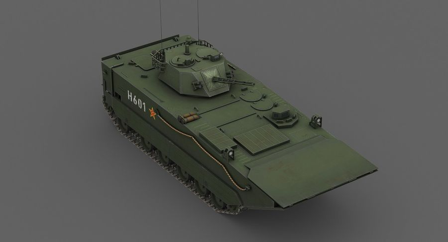 Танк-амфибия ЗБД-05 royalty-free 3d model - Preview no. 7