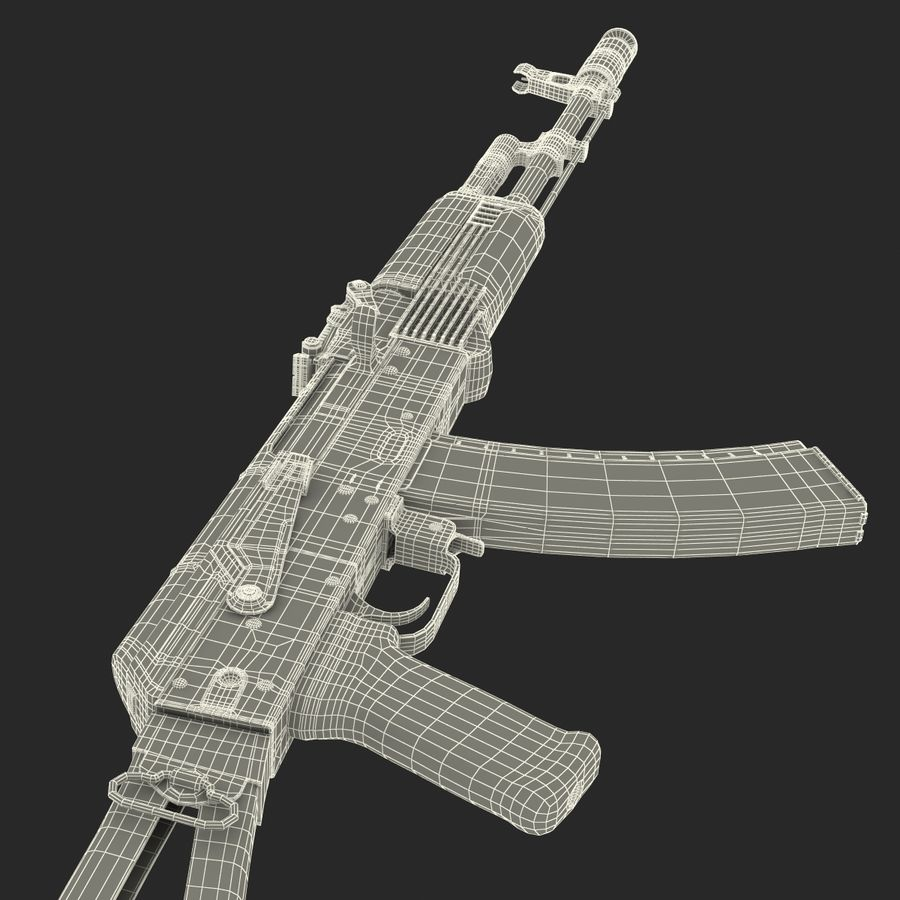 Assault Rifle AKS 74 3D Model royalty-free 3d model - Preview no. 37